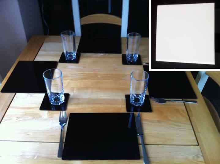 Set of 4 Perspex Place Mats and Coasters (White)