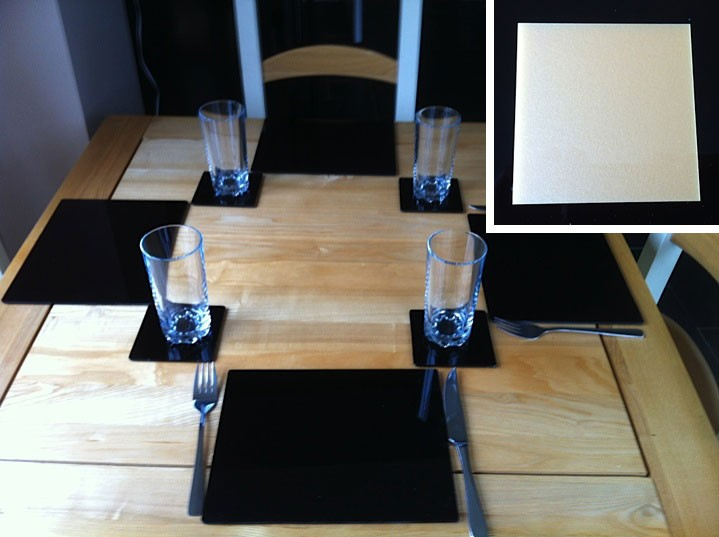 Set of 4 Perspex Place Mats and Coasters (Gold)