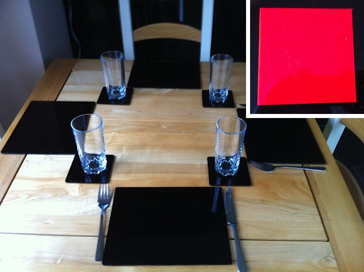 Set of 6 Perspex Place Mats and Coasters (Red)