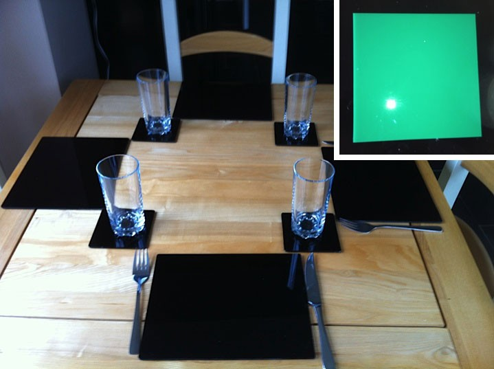 Set of 4 Perspex Place Mats and Coasters (Green)