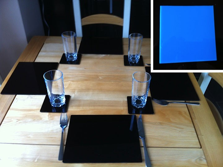 Set of 4 Perspex Place Mats and Coasters (Blue)