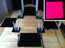 Set of 6 Perspex Place Mats and Coasters (Pink)